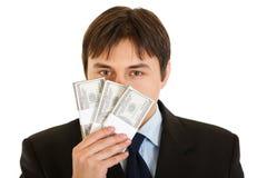 доллар 100 бизнесмена кредитки обнюхивая Стоковые Фотографии RF