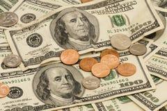 доллар 100 изменения счетов мы Стоковые Фото