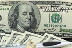 доллар 100 одно счета Стоковое Изображение RF