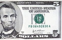 доллар 5 счета Стоковая Фотография RF