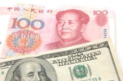 доллар renminbi мы против Стоковое Изображение RF