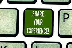 Доля показа знака текста ваш опыт Схематическое фото говоря о навыках вы приобретали через клавиатуру времени стоковые фото