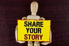 Доля текста сочинительства слова ваш рассказ Концепция дела для говорит личной беседе опытов о себе искусство рассказа написанное стоковое изображение rf