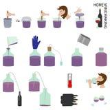 Домашнее виноделие вектор иллюстрации элементов установленный Стоковые Фото