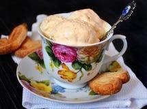 Домашнее мороженое в блюде фарфора Стоковая Фотография