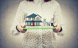 Домашнее страхование семьи Стоковое Фото