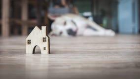 Домашние древесина формы и собака спать Стоковые Изображения RF