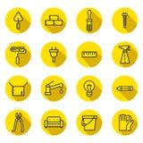 Домашние значки вектора ремонта и конструкции плоские (черные и желтые) установили с тенями Дизайн Minimalistic Стоковое Изображение RF
