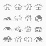 Домашние значки символа хода плана Стоковая Фотография RF
