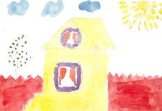 Домашний двор на солнечный день, акварель сынок отца чертежа иллюстрация штока