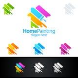 Домашний дизайн логотипа вектора картины Стоковые Изображения