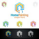 Домашний дизайн логотипа вектора картины Стоковое Изображение RF