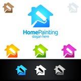 Домашний дизайн логотипа вектора картины Стоковое Изображение