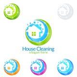 Домашний дизайн логотипа вектора уборки, концепция Eco дружелюбная для интерьера, дом и здание Стоковые Изображения
