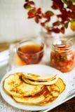 Домашний завтрак или завтрак-обед: американские блинчики стиля служили с ягодами и порошком сахара на винтажном подносе металла с стоковое фото rf