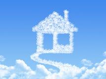 Домашний знак на сформированном облаке Стоковые Фото