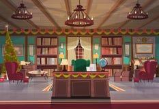 Домашний интерьер украшенный на праздники рождества и Нового Года, пустой стол офиса рабочего места и кресло с сосной гирлянд иллюстрация вектора