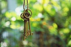 Домашний ключ с смертной казнью через повешение кольца для ключей дома с предпосылкой сада нерезкости Стоковое Фото