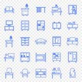 Домашний комплект значка мебели 25 значков иллюстрация вектора