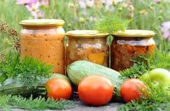 Домашний консервировать, законсервированные овощи стоковые фото