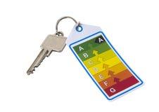 Домашний ключ с ярлыком энергии на белой предпосылке Стоковое Изображение RF
