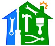 Домашний логотип ремонта и улучшения Стоковое Изображение RF