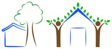 Домашний логотип дерева иллюстрация вектора