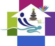 Домашний логотип массажа иллюстрация вектора