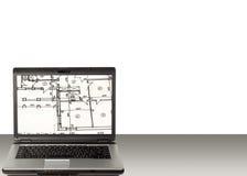 домашний план компьтер-книжки Стоковое Изображение RF