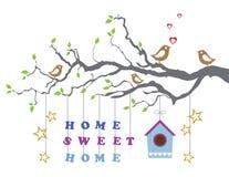 Домашний сладостный дом двигать-в поздравительной открытке нового дома иллюстрация штока