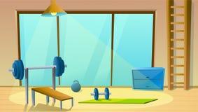 Домашний спортзал с большим окном Спорт внутренний со штангами Здоровое гимнастическое Фитнес-зал r иллюстрация вектора