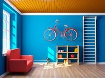 Домашний спортзал с велосипедом Стоковые Фотографии RF