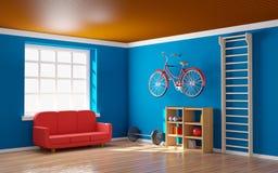 Домашний спортзал с велосипедом Стоковая Фотография