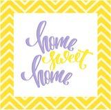 Домашний сладостный домашний плакат Современная каллиграфия щетки Красочная цитата с шевроном Стоковые Изображения RF