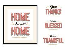 Домашний сладостный дом, дает спасибо, мы благословленный мы благодарная винтажная литерность плаката оформления вектора установл бесплатная иллюстрация