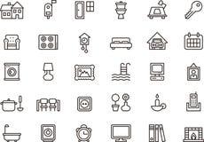 Домашний тематический комплект значка иллюстрация вектора