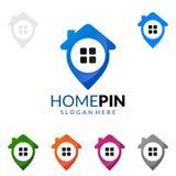 Домашний штырь, дизайн логотипа вектора недвижимости Стоковая Фотография