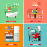 Домашняя внутренняя иллюстрация вектора в плоском стиле Расквартируйте дизайн с мебелью, кухней, ванной комнатой, столовой, рабоч Стоковое фото RF