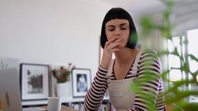 домашняя компьтер-книжка используя женщину сток-видео