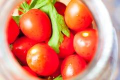 домашняя консервация Зрелые красные томаты в процессе консервировать стоковое фото