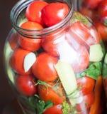 домашняя консервация Зрелые красные томаты в процессе консервировать стоковые фото
