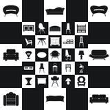Домашняя мебель, комплект дизайна концепции иллюстраций, вектор Стоковые Фото