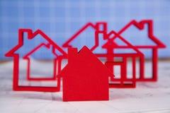 Домашняя модель с светокопией чертежа Стоковое Изображение