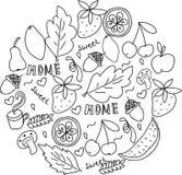 домашняя помадка Doodle нарисованный рукой черно-белый иллюстрация вектора