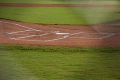 Домашняя плита на поле бейсбола Стоковое Изображение RF