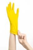 Домашняя работа, стирка и чистка темы: рука человека держа желтый цвет и носит резиновые перчатки для очищать изолированные на бе Стоковая Фотография