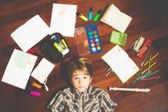 Домашняя работа для мальчика Стоковое Изображение