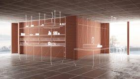 Домашняя реновация, предпосылка концепции развития дома, дизайн интерьера под конструкцией, изготовленным на заказ дизайн-проекто стоковое изображение rf