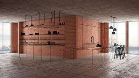 Домашняя реновация, предпосылка концепции развития дома, дизайн интерьера под конструкцией, изготовленным на заказ дизайн-проекто иллюстрация вектора
