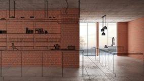 Домашняя реновация, предпосылка концепции развития дома, дизайн интерьера под конструкцией, изготовленным на заказ дизайн-проекто иллюстрация штока